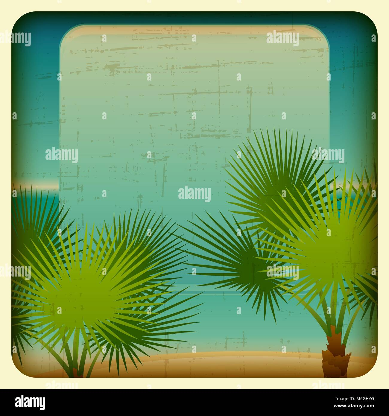 Retro background with seaside and palm trees - Stock Vector