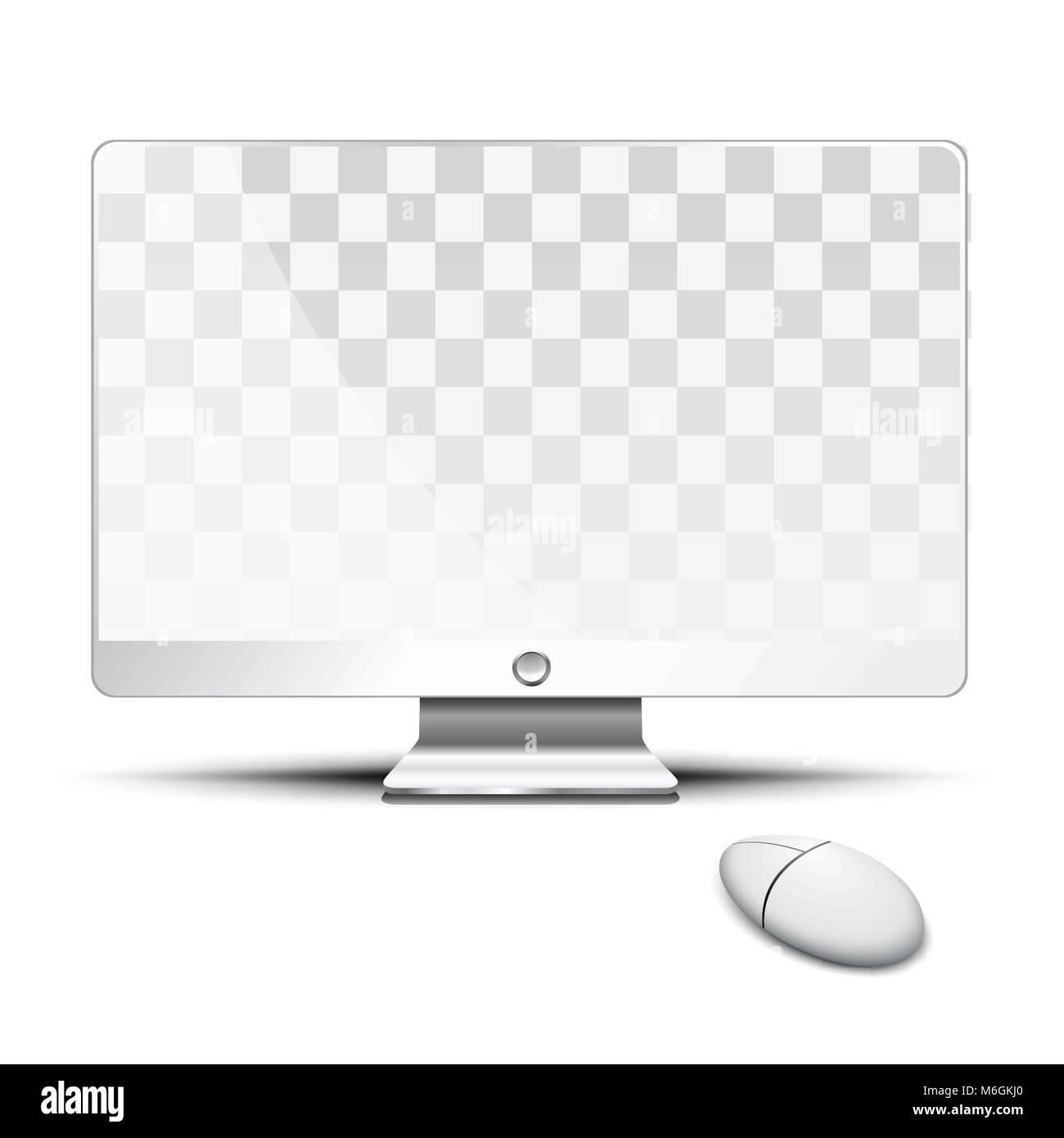 Transparent flat screen and mouse on the desktop - Stock Image