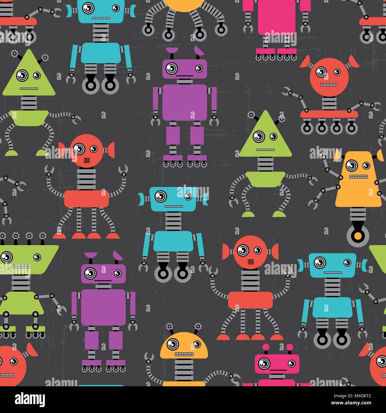 Cartoon robots seamless pattern Stock Vector