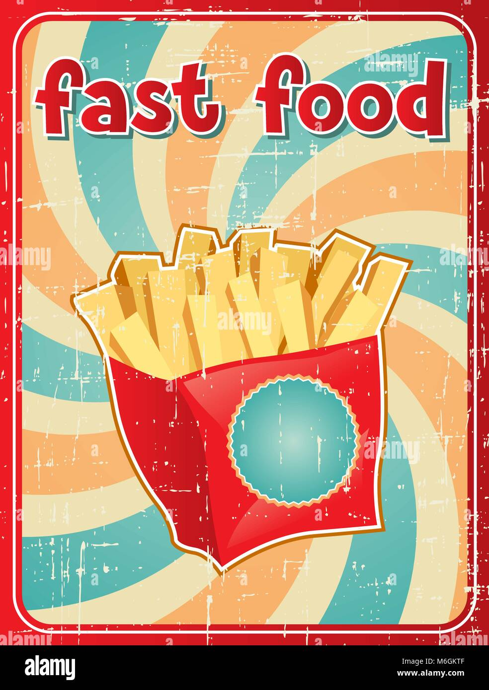 Fast food background with french fries in retro style - Stock Vector