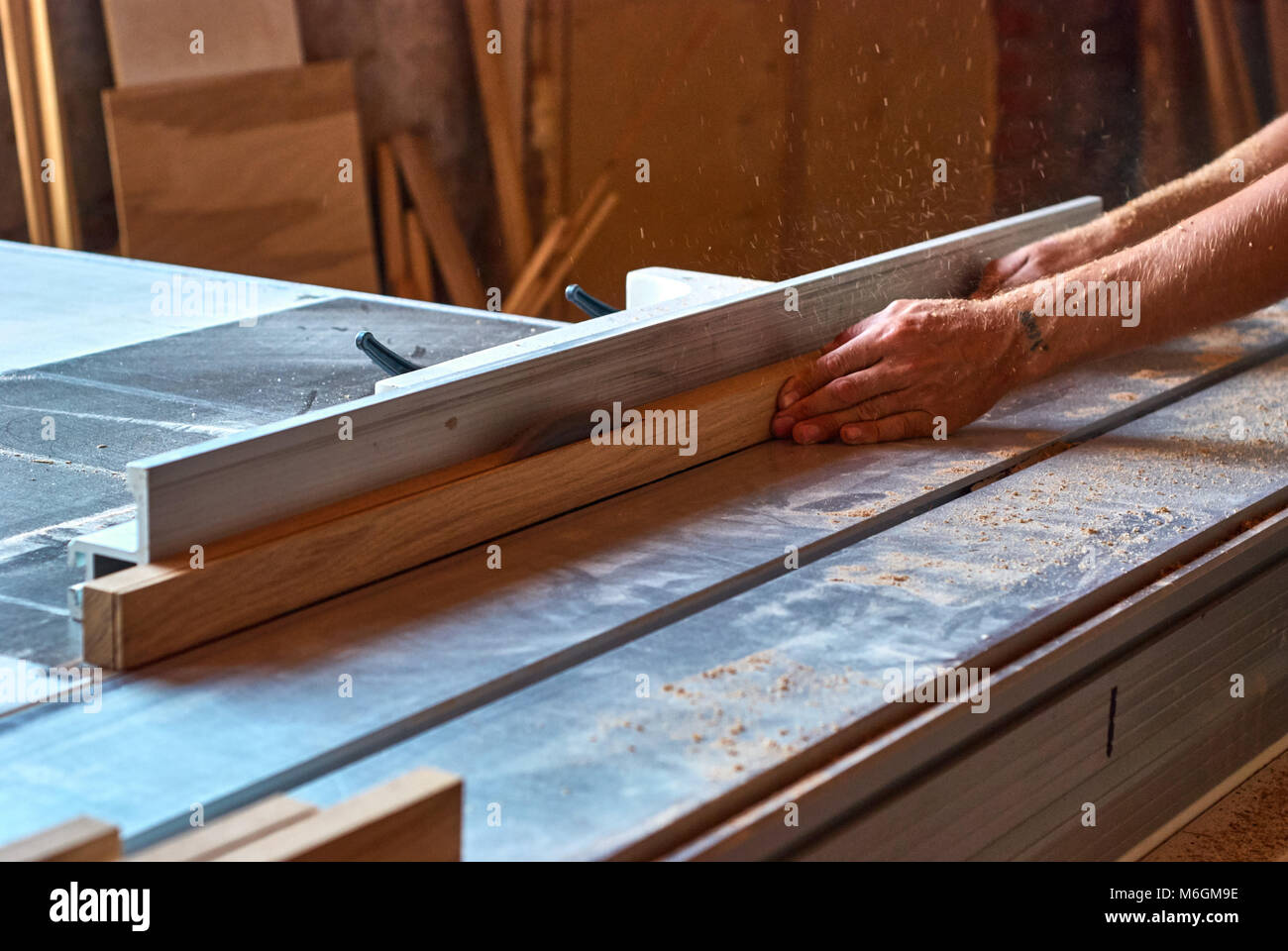 Panel squaring saw during sawing of an oak bar - Stock Image