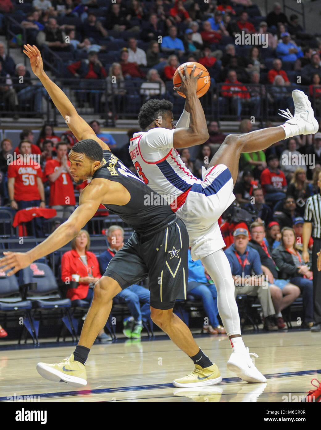 March 03, 2018; Oxford, MS, USA; Ole' Miss guard, Terence Davis (3), comes down with the loose ball. The Vanderbilt - Stock Image