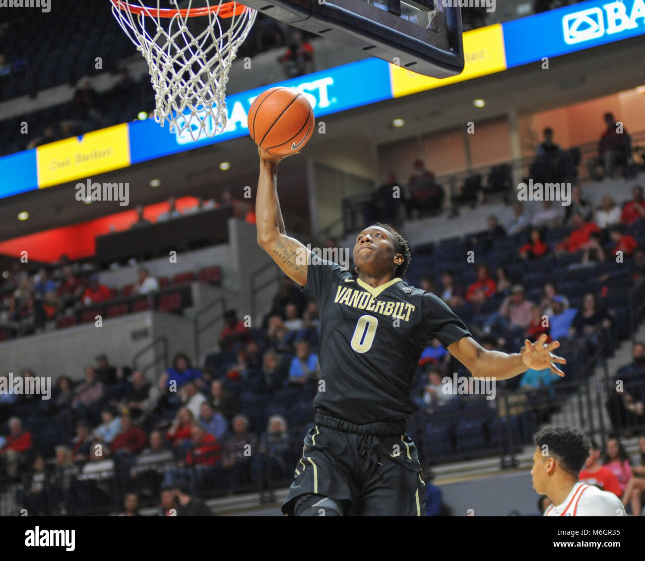 March 03, 2018; Oxford, MS, USA; Vanderbilt guard, Saben Lee (0), heads to the hoop for the lay up. The Vanderbilt - Stock Image