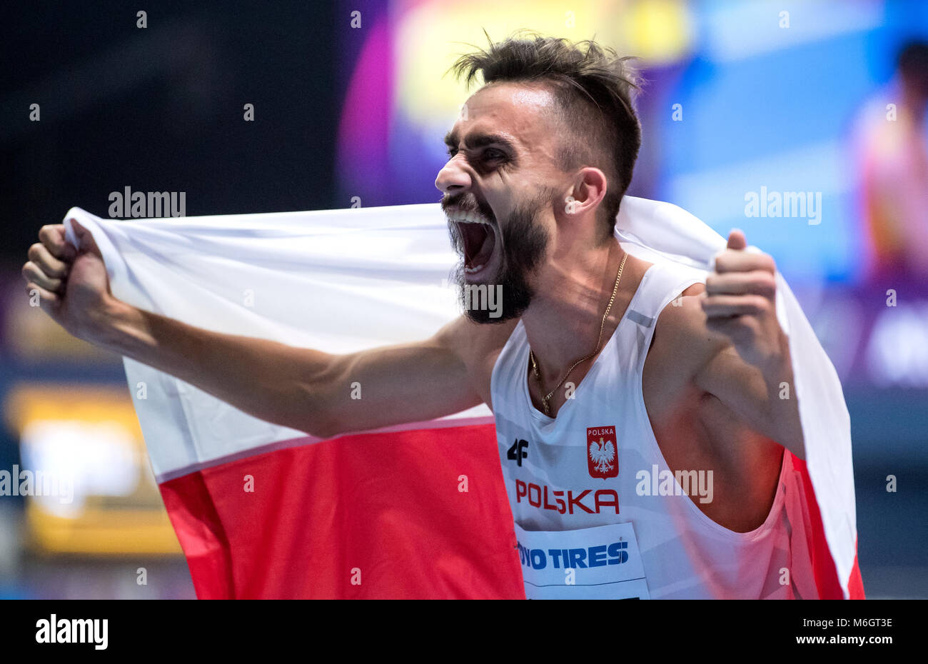 03 March 2018, Great Britain, Birmingham: IAAF World Indoor Championships, men's 800m. Adam Kszczot of Poland - Stock Image