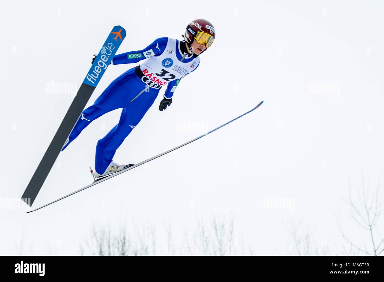 March 4, 2018: Kaori Iwabuchi (JPN)  during the  FIS Ski Jumping World Cup Ladies Rasnov (ROU) 2018 at Valea Carbunarii, - Stock Image