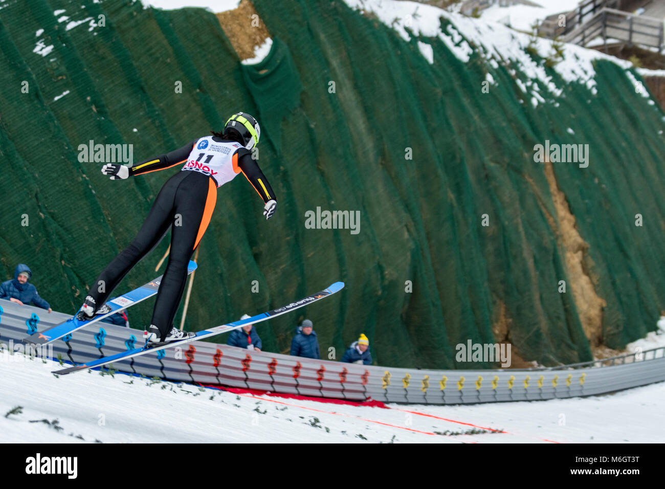 March 4, 2018: Haruka Iwasa (JPN)  during the  FIS Ski Jumping World Cup Ladies Rasnov (ROU) 2018 at Valea Carbunarii, - Stock Image