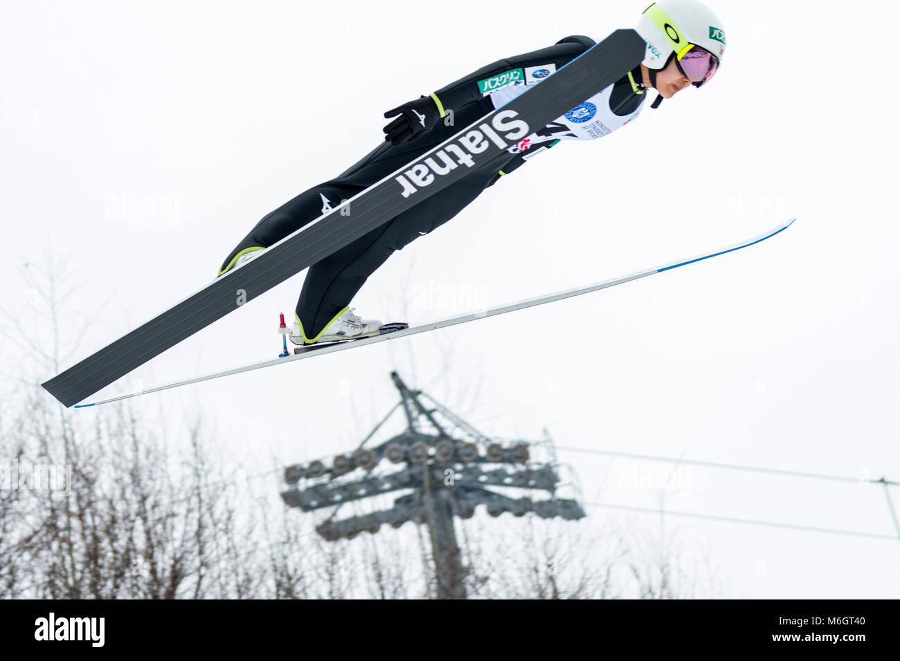 March 4, 2018: Sara Takanashi (JPN)  during the  FIS Ski Jumping World Cup Ladies Rasnov (ROU) 2018 at Valea Carbunarii, - Stock Image