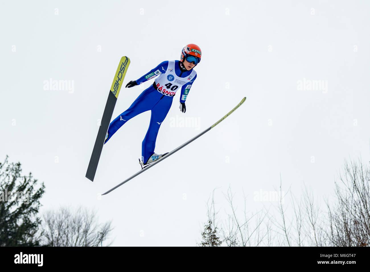 March 4, 2018: Yuki Ito (JPN)  during the  FIS Ski Jumping World Cup Ladies Rasnov (ROU) 2018 at Valea Carbunarii, - Stock Image
