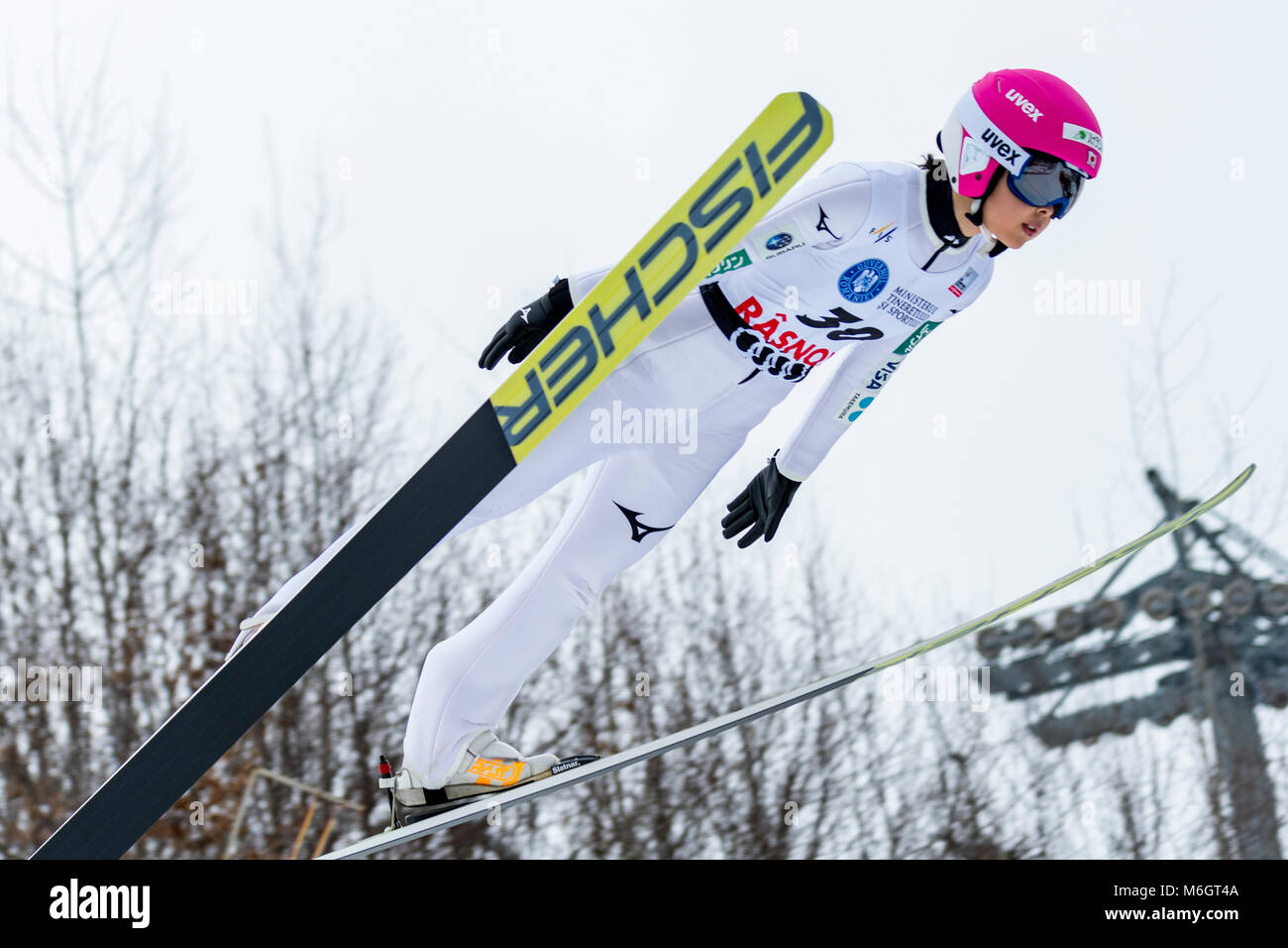 March 4, 2018: Yuka Seto (JPN)  during the  FIS Ski Jumping World Cup Ladies Rasnov (ROU) 2018 at Valea Carbunarii, - Stock Image