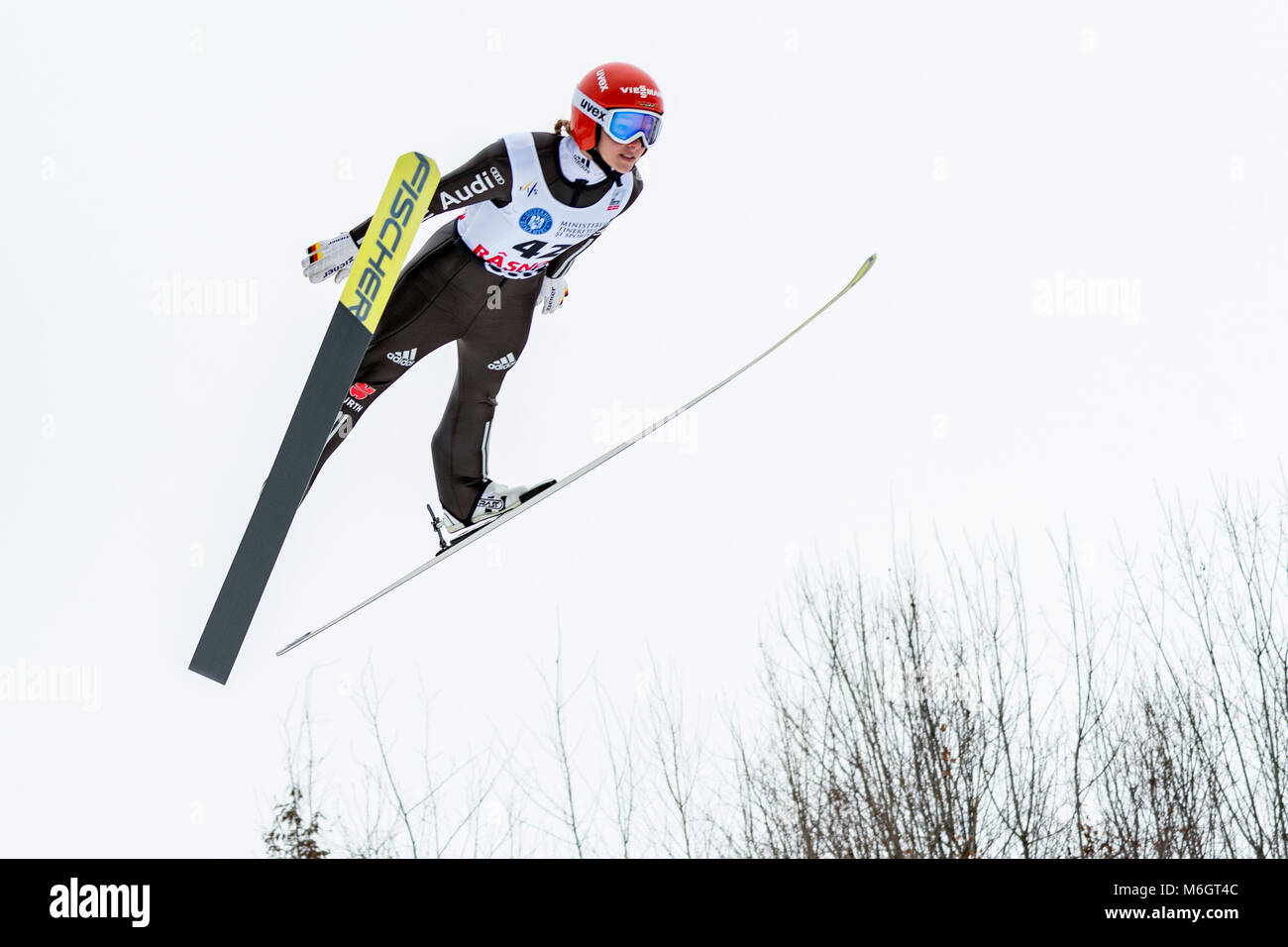 March 4, 2018: Katharina Althaus (GER)  during the  FIS Ski Jumping World Cup Ladies Rasnov (ROU) 2018 at Valea - Stock Image