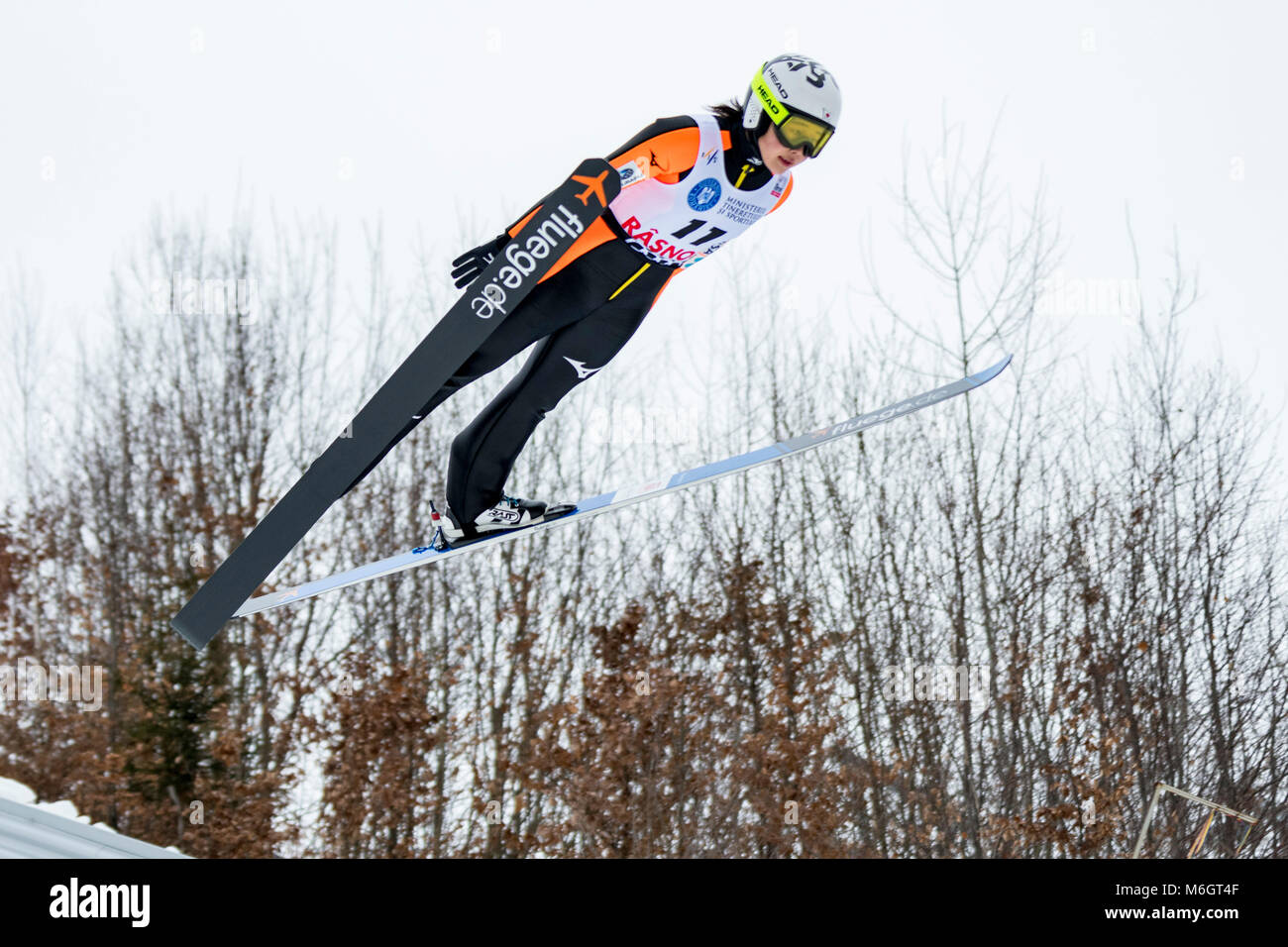 March 4, 2018: Haruka Iwasa (JPN)  during the  FIS Ski Jumping World Cup Ladies Rasnov (ROU) 2018 at Valea Carbunarii, - Stock Image
