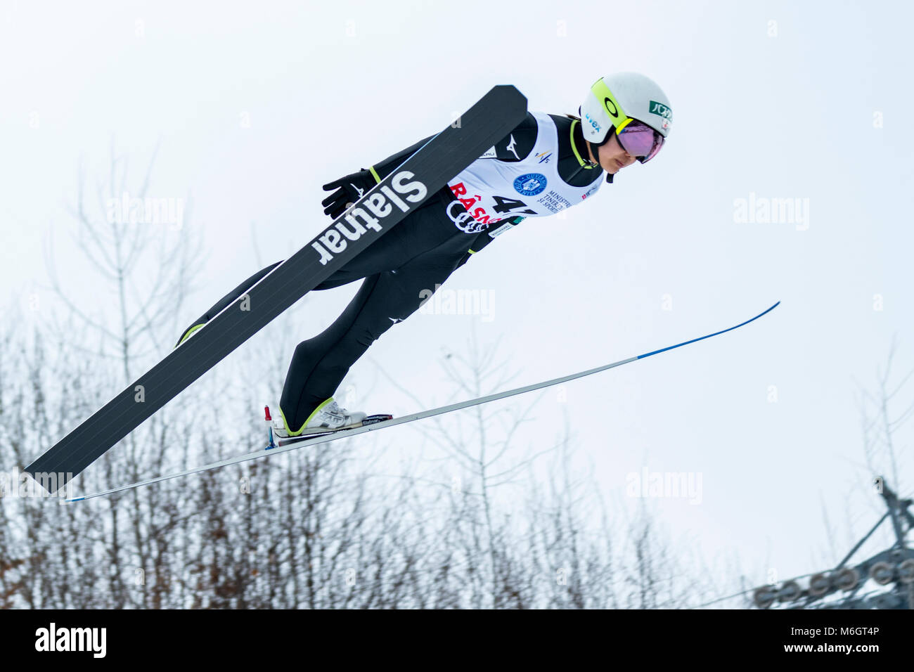 March 4, 2018: Sara Takanashi (JPN)  during the  FIS Ski Jumping World Cup Ladies Rasnov (ROU) 2018 at Valea Carbunarii, - Stock Image