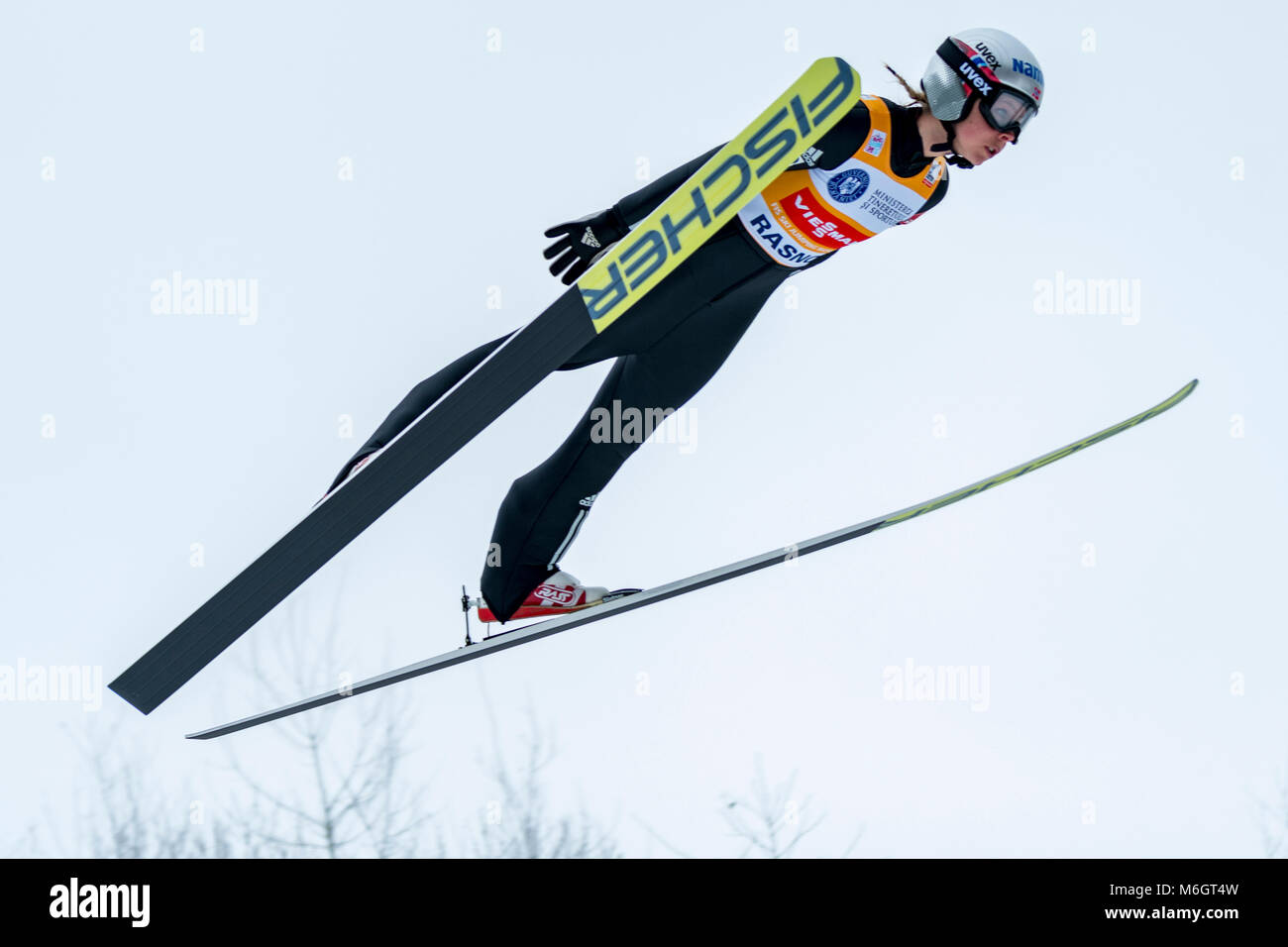March 4, 2018: Maren Lundby (NOR)  during the  FIS Ski Jumping World Cup Ladies Rasnov (ROU) 2018 at Valea Carbunarii, - Stock Image
