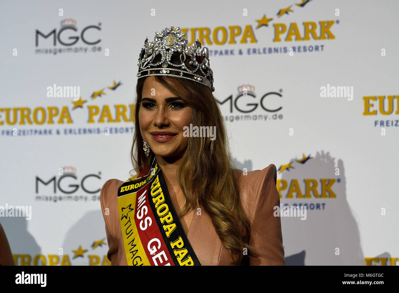 February 24, 2018 - The newly elected Miss Germany, Anahita Rehbein, delivers a press conference to media representatives - Stock Image