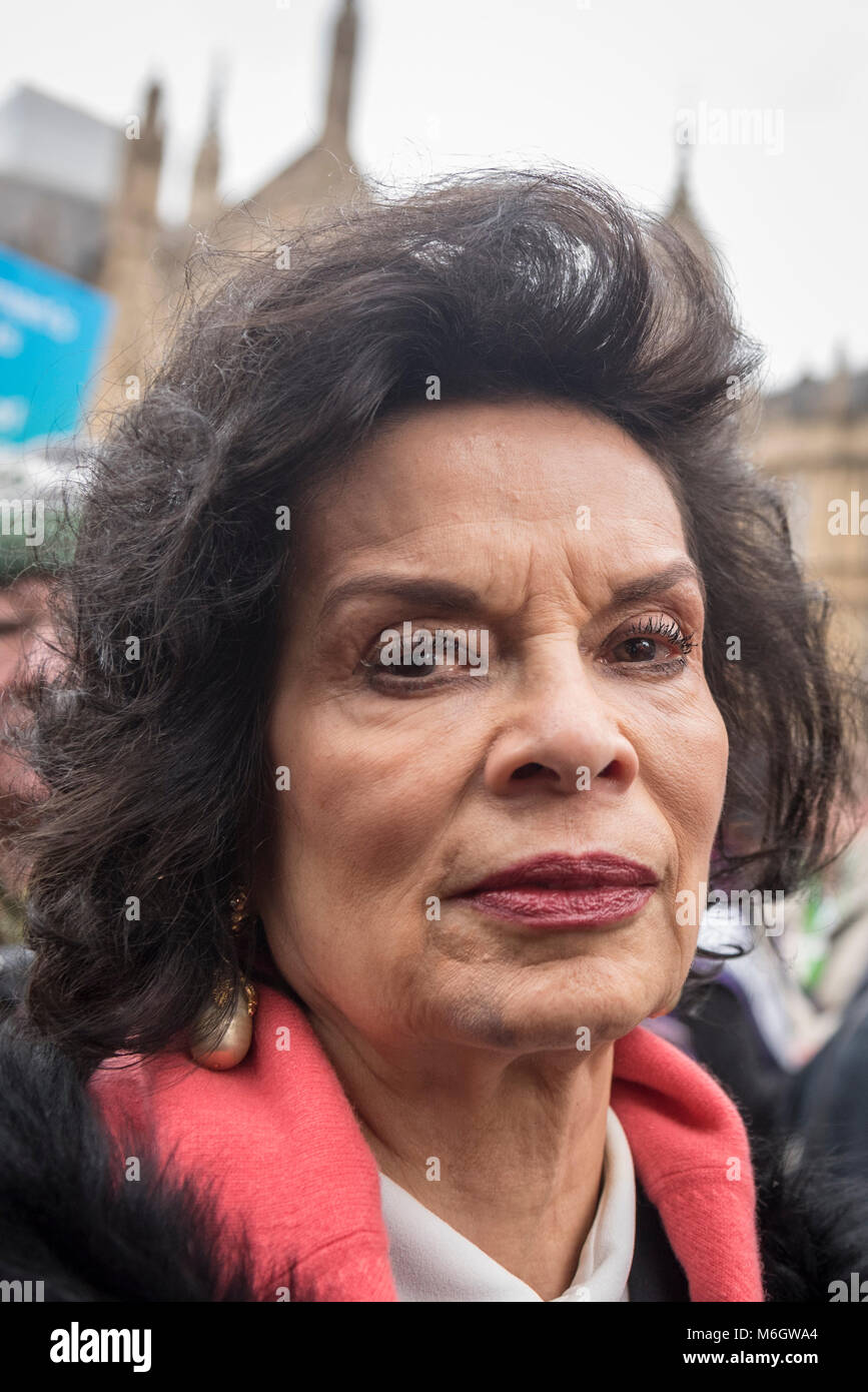 London, UK.  4 March 2018. Bianca Jagger, activist joins the march. Hundreds of men and women take part in the annual - Stock Image