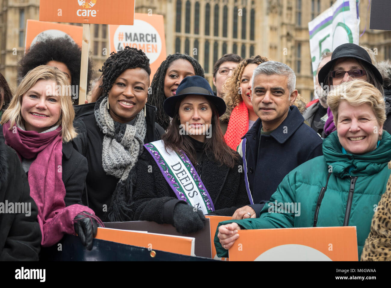 London, UK.  4 March 2018.  Justine Greening, MP, Natalie Imbruglia, singer, Sadiq Khan, Mayor of London and Sandi - Stock Image