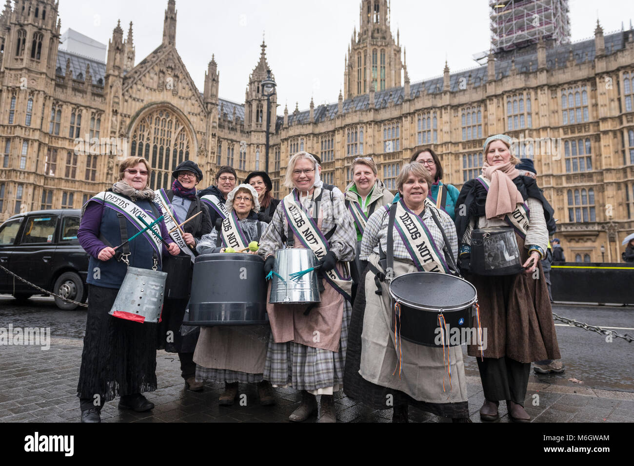 London, UK.  4 March 2018. A group of musicians join the march.  Hundreds of men and women take part in the annual - Stock Image