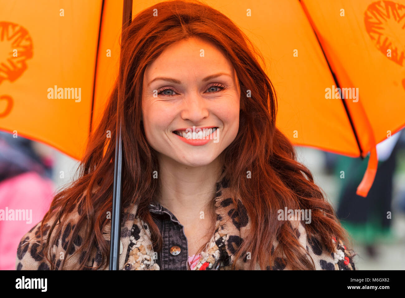 Westminster, London, 4th March 2018. Singer Sophie Ellis-Bextor joins and supports the march. Thousands of placard - Stock Image