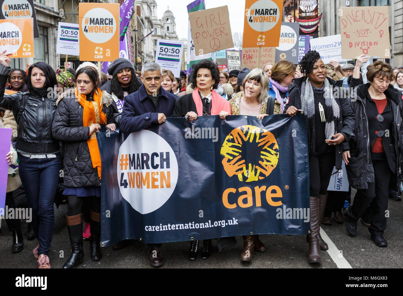 Westminster, London, 4th March 2018. Mayor Sadiq Khan leads the march with Bianca Jagger, Sandi Tonsvik, Dawn Butler - Stock Image
