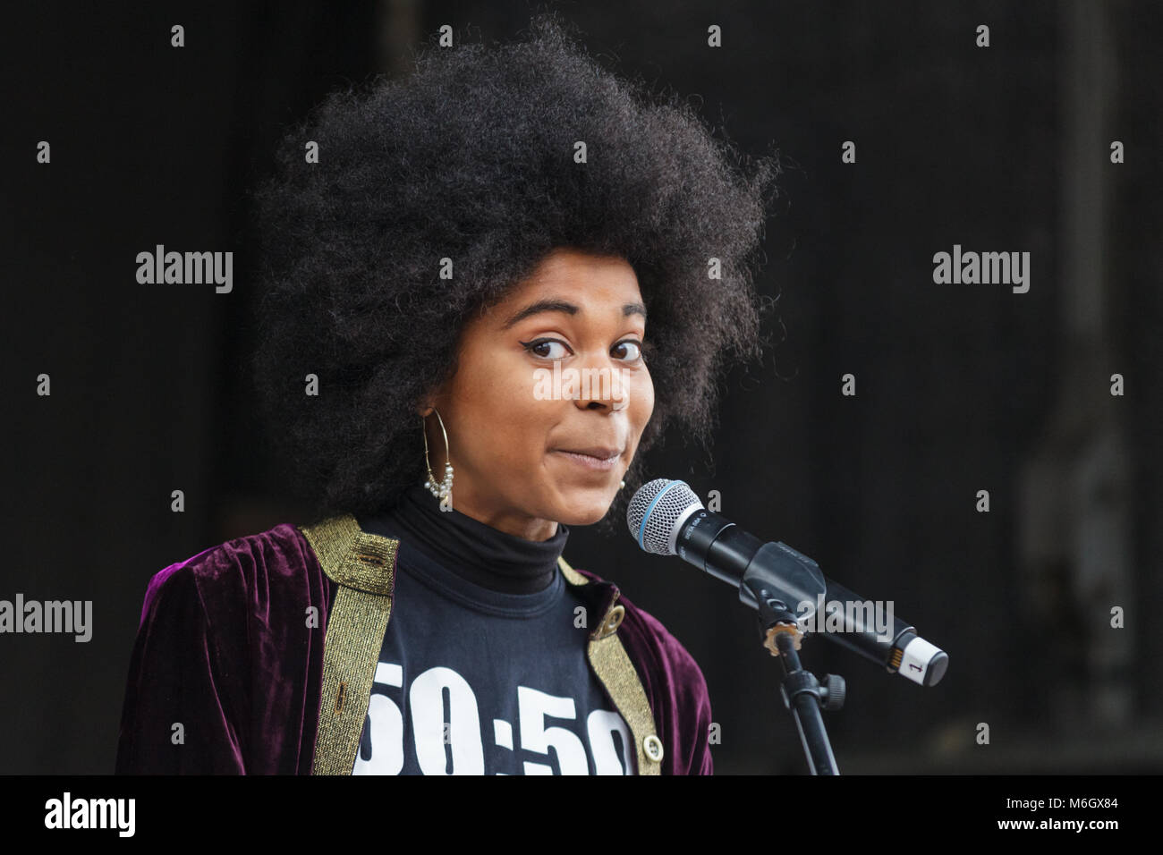 Westminster, London, 4th March 2018. Isabel Adomakoh Young, actress and campaigner, speaks at the rally. Thousands - Stock Image