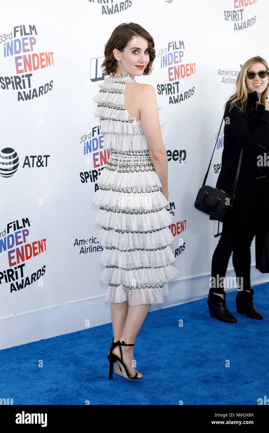 Alison Brie attending the 33rd annual Film Independent Spirit Awards 2018 on March 3, 2018 in Santa Monica, California. - Stock Image