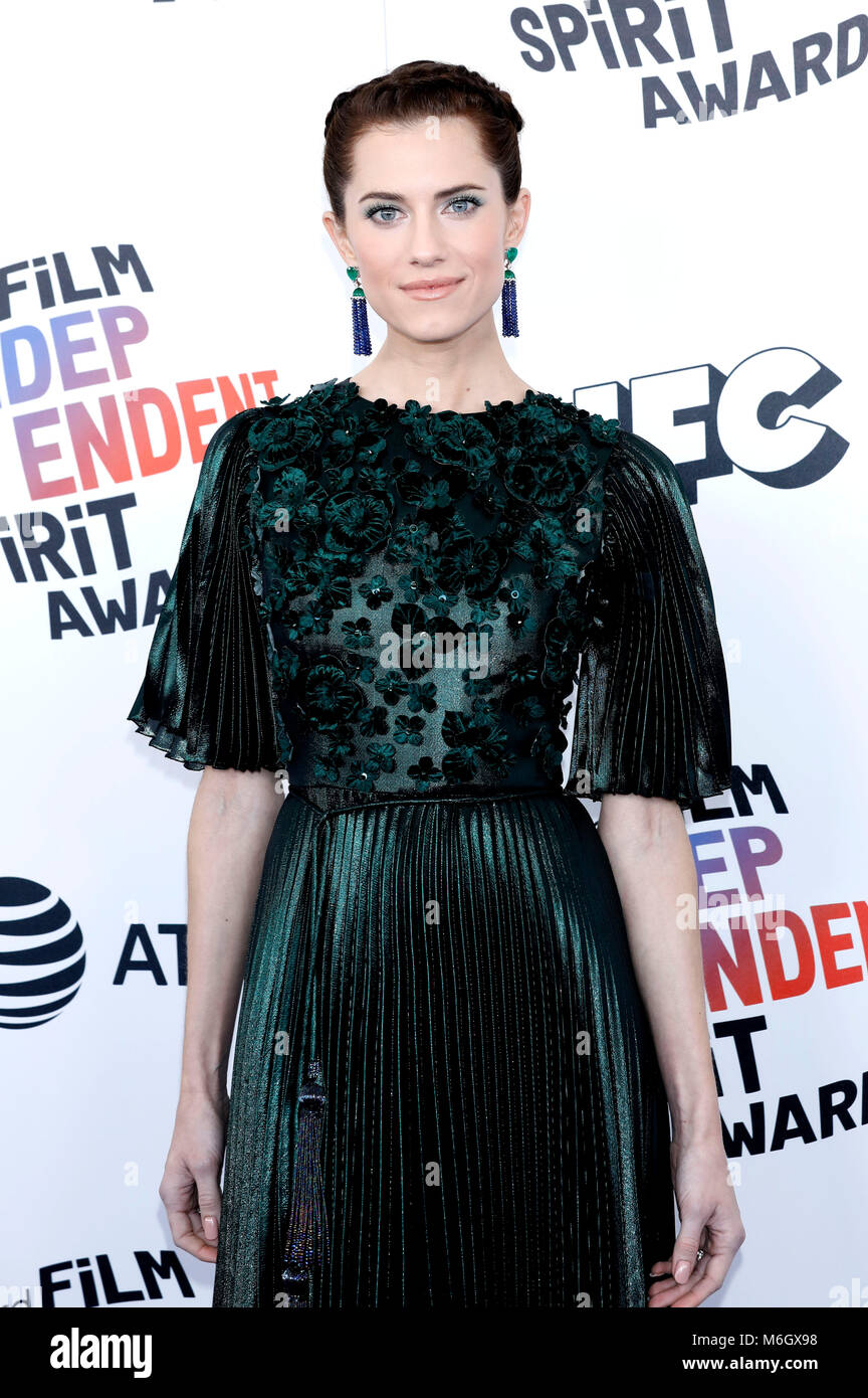 Allison Williams attending the 33rd annual Film Independent Spirit Awards 2018 on March 3, 2018 in Santa Monica, - Stock Image