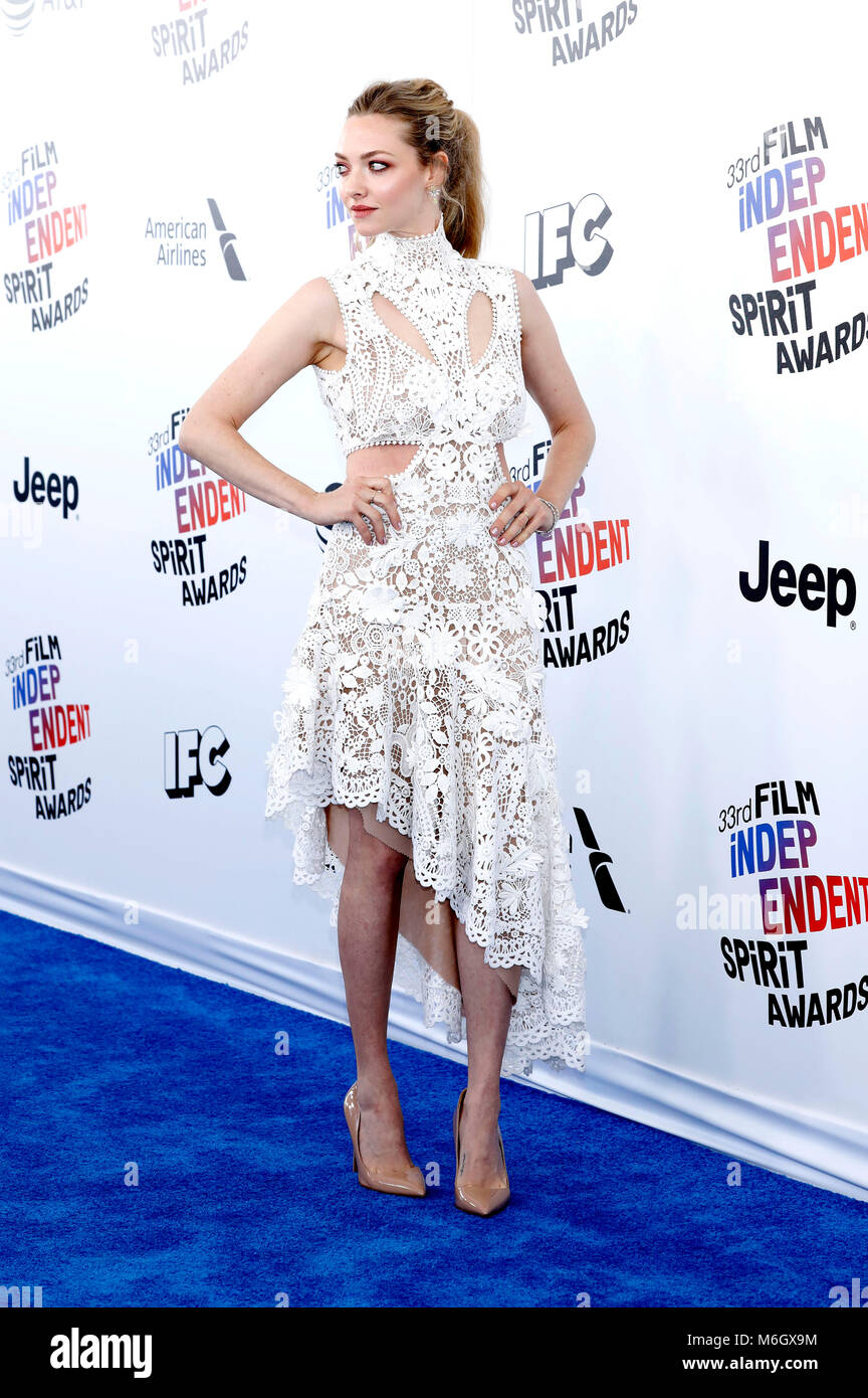 Amanda Seyfried attending the 33rd annual Film Independent Spirit Awards 2018 on March 3, 2018 in Santa Monica, - Stock Image