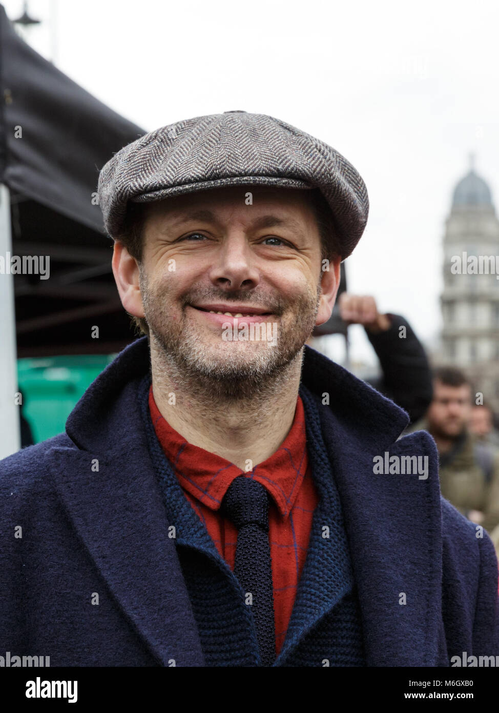 Westminster, London, 4th March 2018. Actor Michael Sheen supports the march. Thousands of placard-bearing women - Stock Image