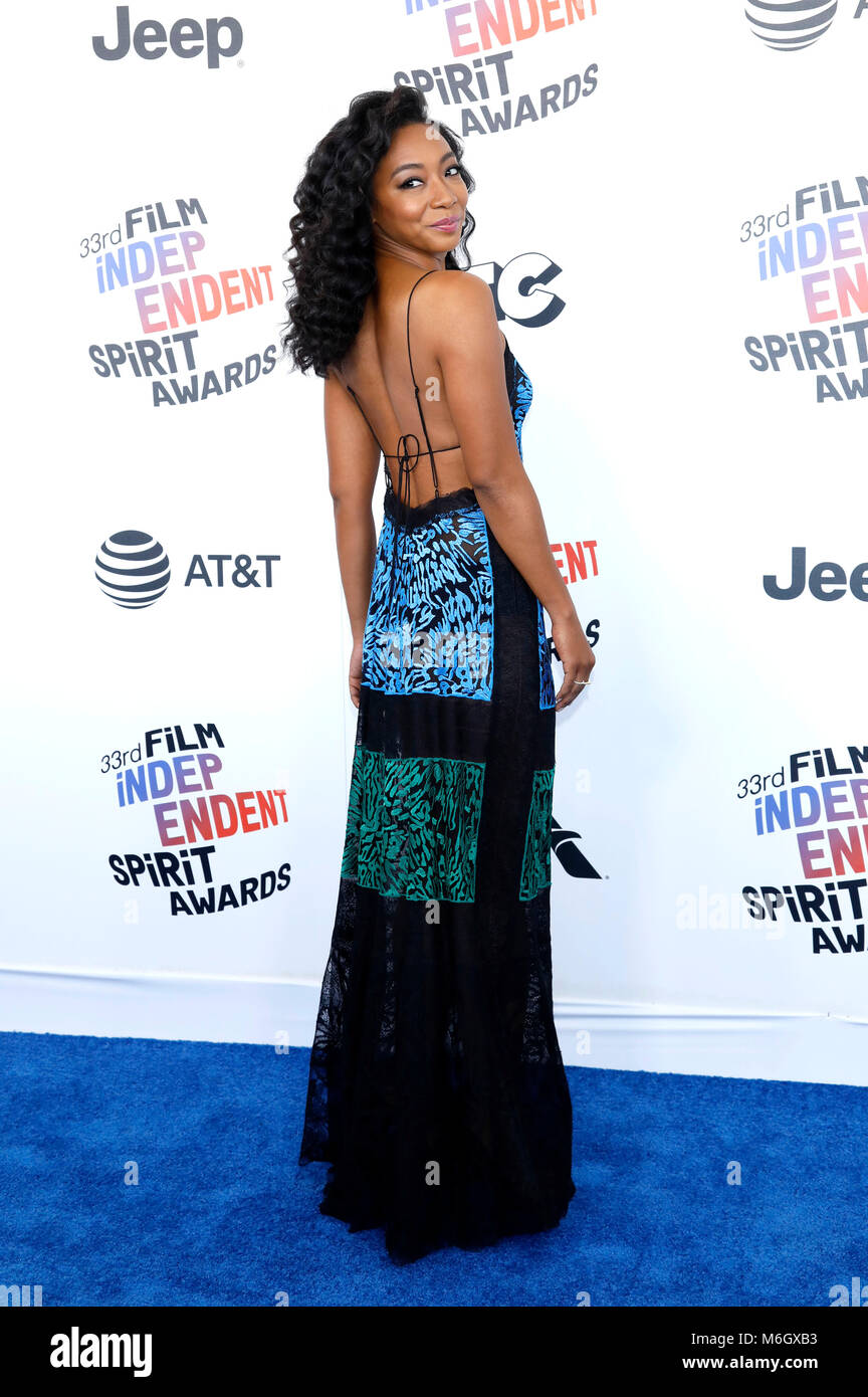 Betty Gabriel attending the 33rd annual Film Independent Spirit Awards 2018 on March 3, 2018 in Santa Monica, California. - Stock Image