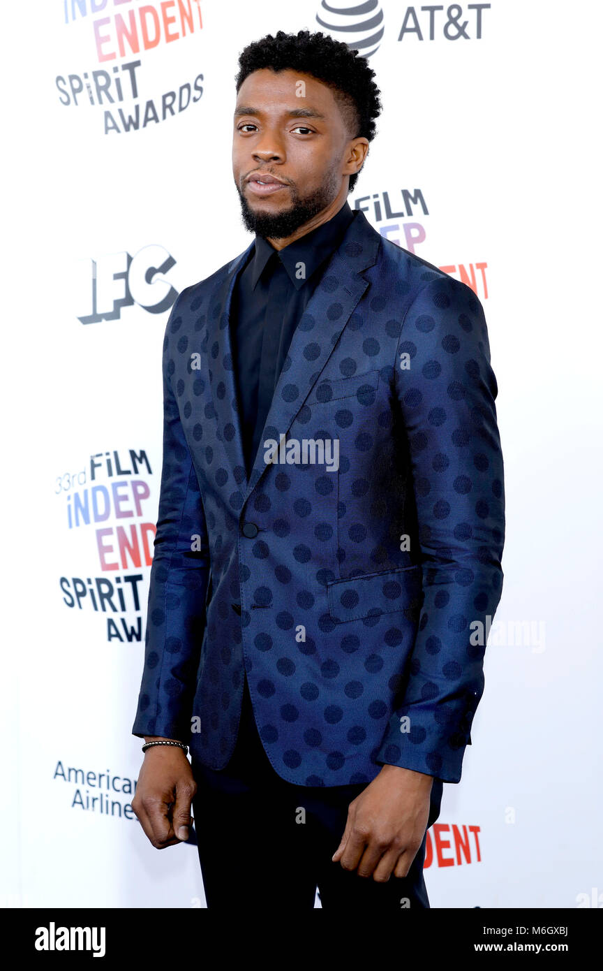 Chadwick Boseman attending the 33rd annual Film Independent Spirit Awards 2018 on March 3, 2018 in Santa Monica, - Stock Image