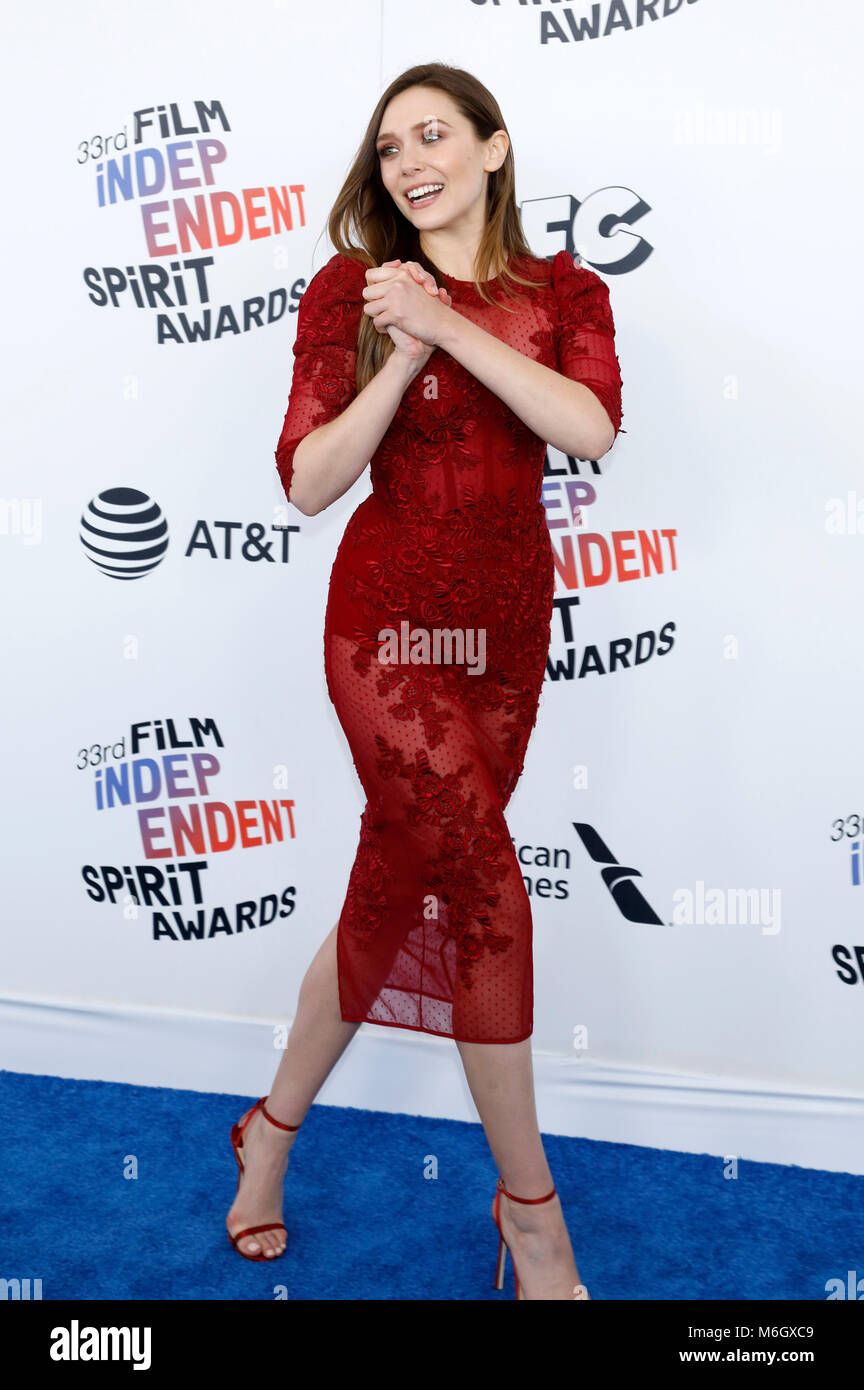 Elizabeth Olsen attending the 33rd annual Film Independent Spirit Awards 2018 on March 3, 2018 in Santa Monica, - Stock Image