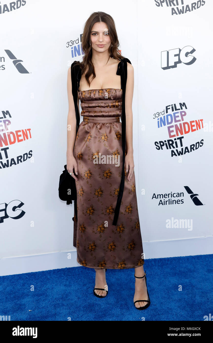 Emily Ratajkowski attending the 33rd annual Film Independent Spirit Awards 2018 on March 3, 2018 in Santa Monica, - Stock Image