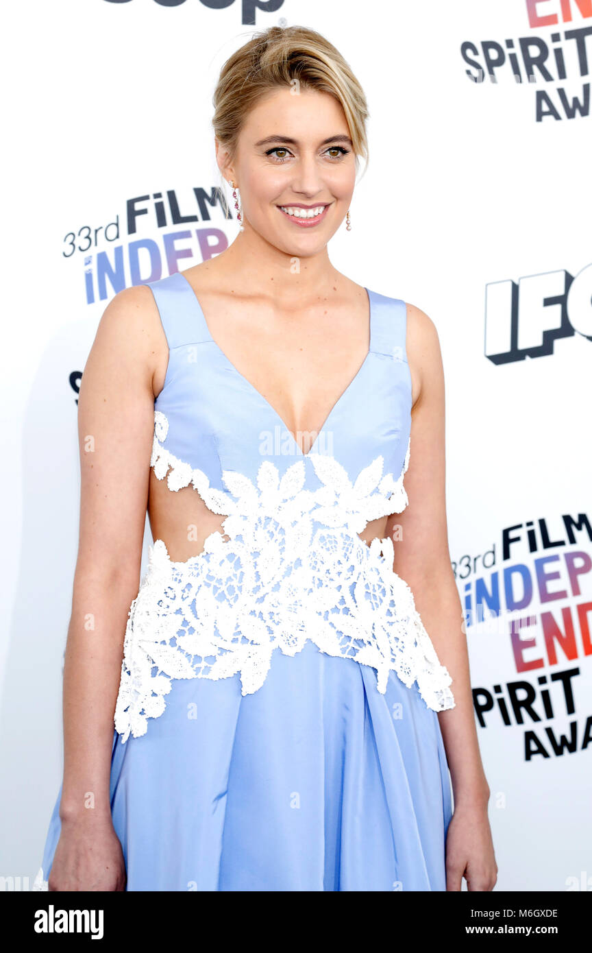Greta Gerwig attending the 33rd annual Film Independent Spirit Awards 2018 on March 3, 2018 in Santa Monica, California. - Stock Image