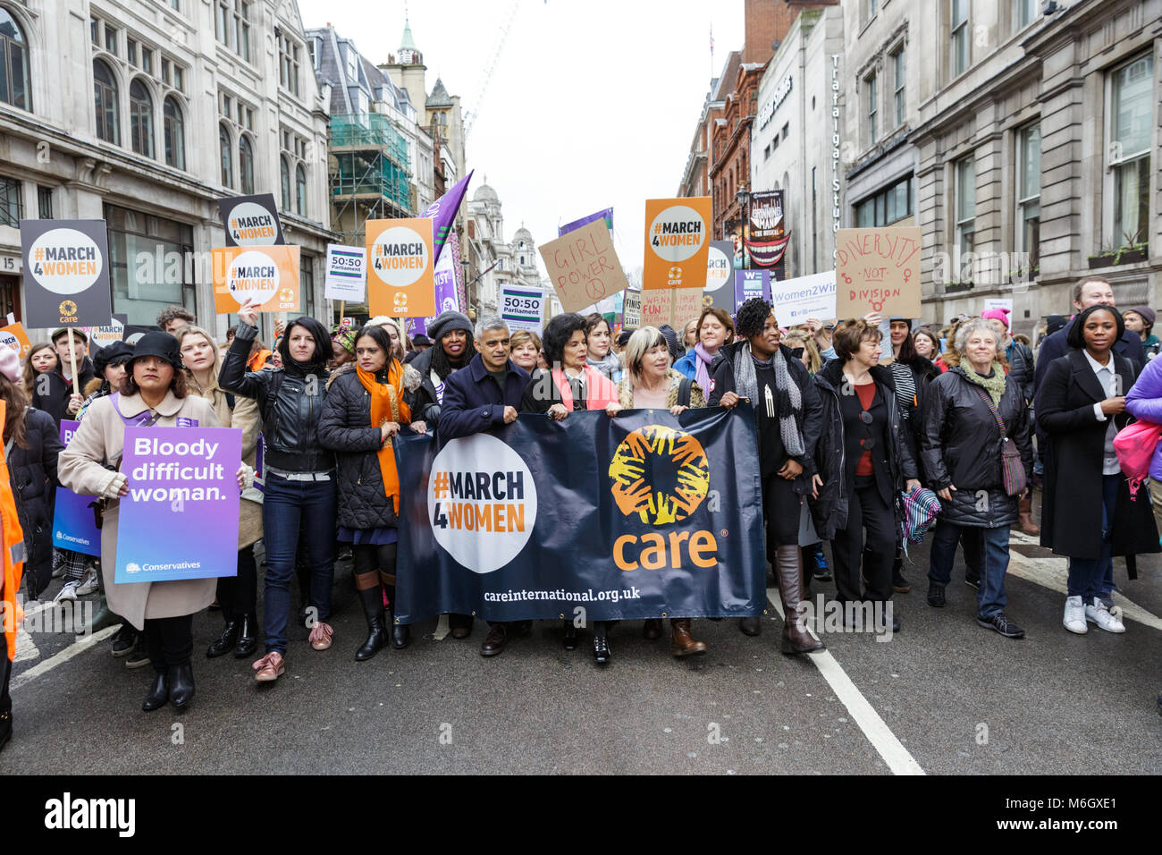 Westminster, London, 4th March 2018. Mayor Sadiq Khan leads the march with Bianca Jagger, Sandi Tonsvik, and others. - Stock Image