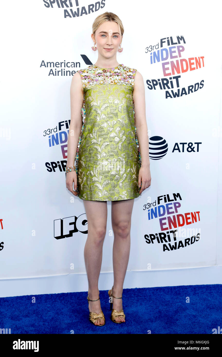Saoirse Ronan attending the 33rd annual Film Independent Spirit Awards 2018 on March 3, 2018 in Santa Monica, California. - Stock Image