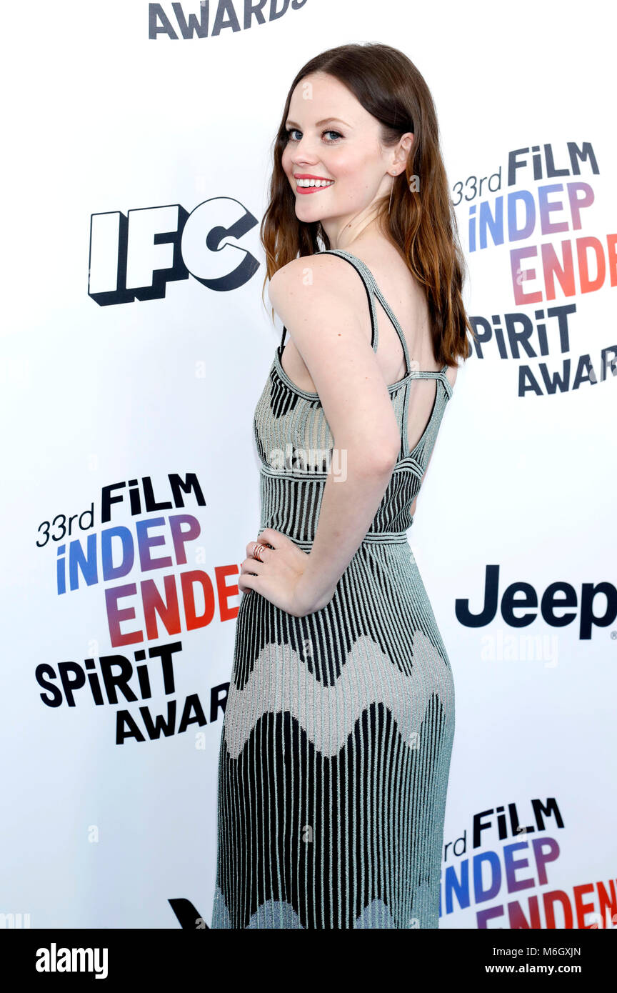 Sarah Ramos attending the 33rd annual Film Independent Spirit Awards 2018 on March 3, 2018 in Santa Monica, California. - Stock Image