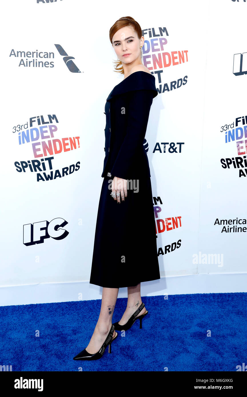 Zoey Deutch attending the 33rd annual Film Independent Spirit Awards 2018 on March 3, 2018 in Santa Monica, California. - Stock Image