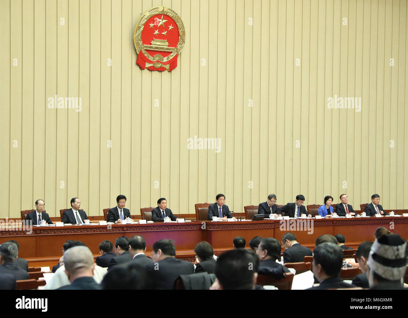 Beijing, China. 4th Mar, 2018. The first meeting of the presidium for the first session of the 13th National People's - Stock Image
