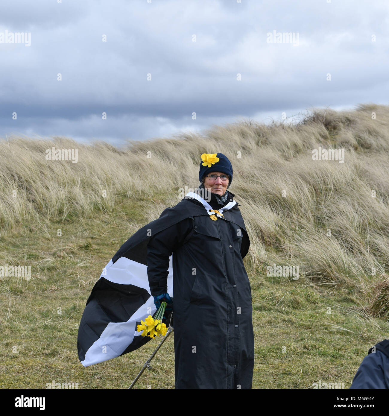 Perran sands, perranporth, cornwall, U.K. The annual St Piran play and march takes place on perran sands, ahead - Stock Image