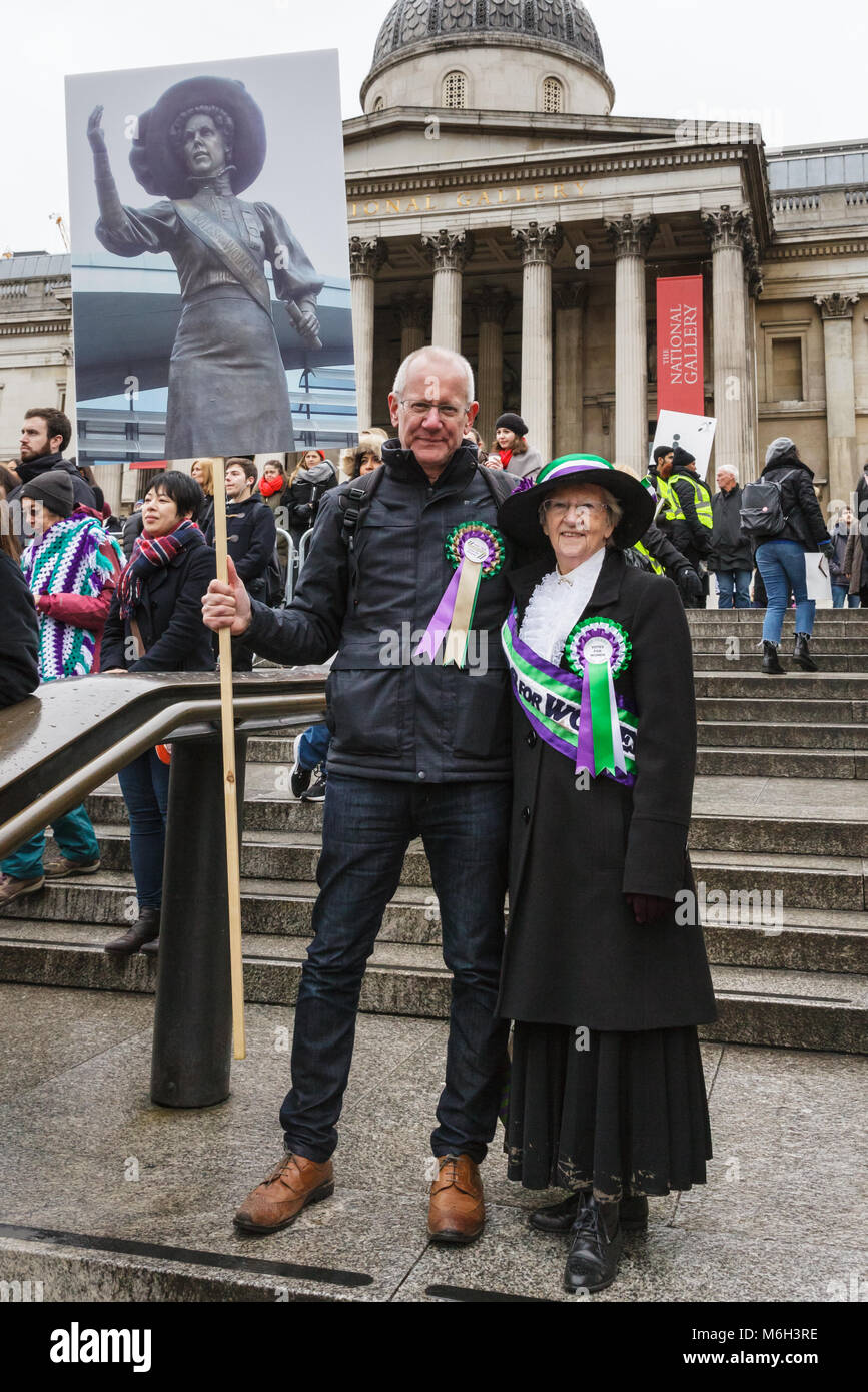 Westminster, London, 4th March 2018. The family and descendants of Alice Hawkins, one of the suffragettes, have - Stock Image