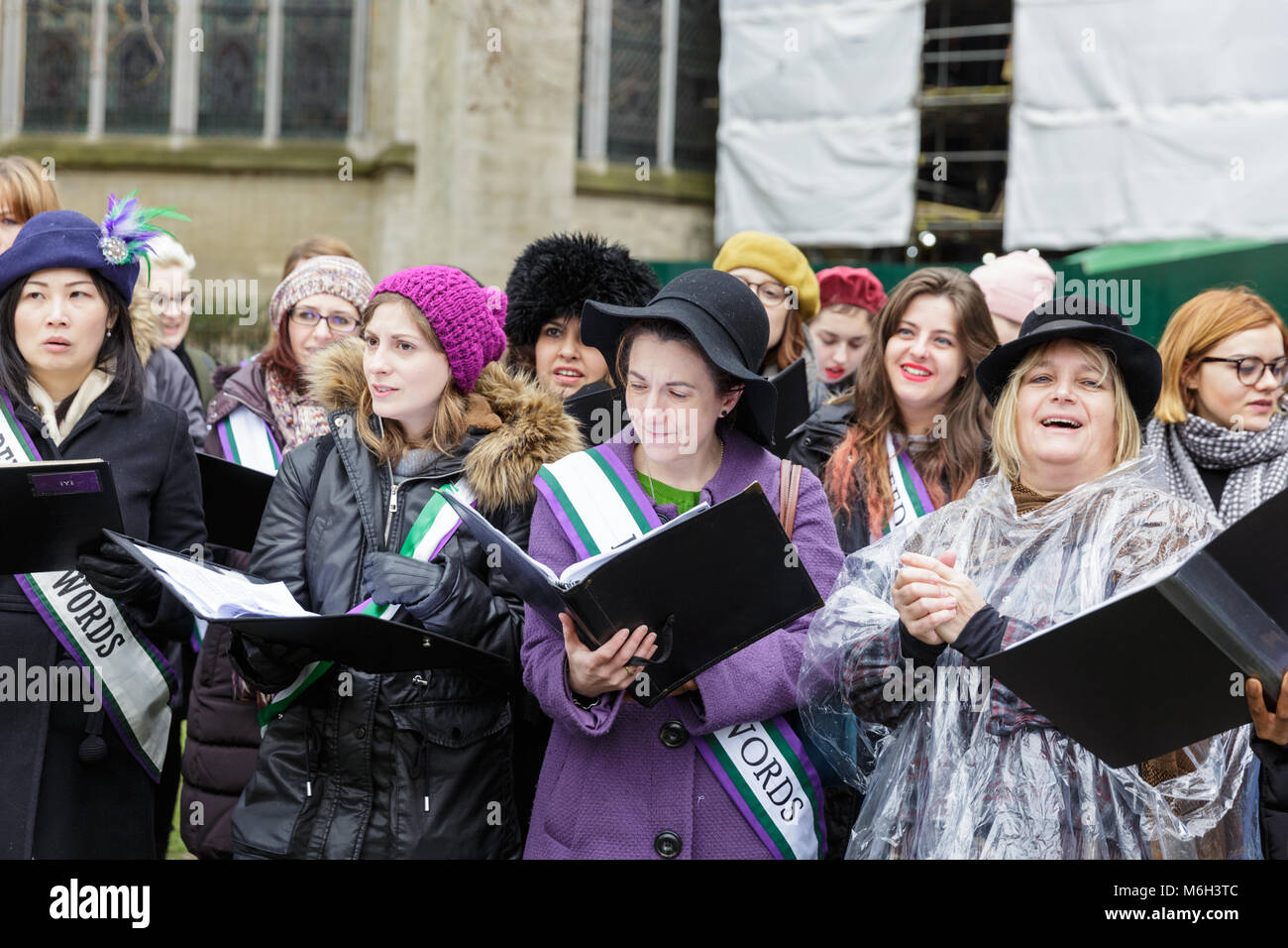 Westminster, London, 4th March 2018.Thousands of placard-bearing women joins and men walk through London for the - Stock Image