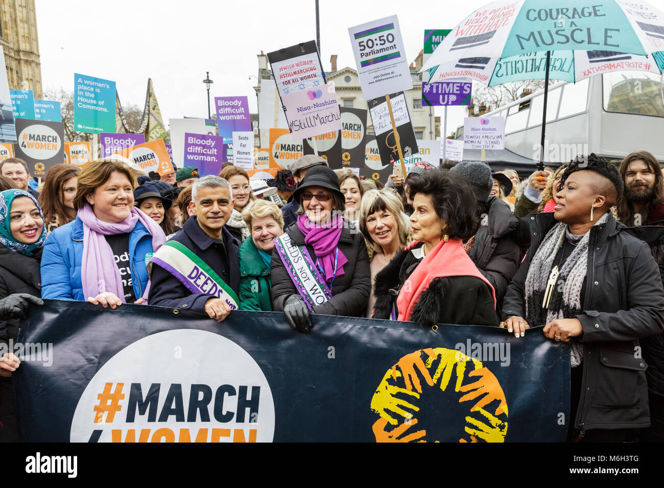 Westminster, London, 4th March 2018. Mayor Sadiq Khan leads the march with presenter Sandi Tonsvik, activist Bianca - Stock Image