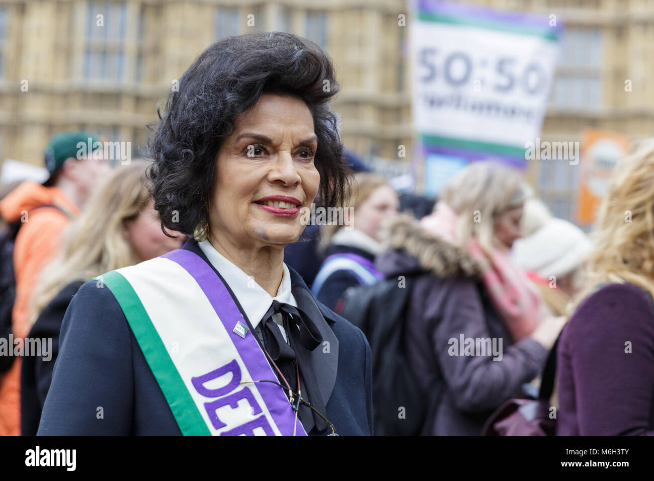 Westminster, London, 4th March 2018. Actress and activist Bianca Jagger supports the march and lends her voice. - Stock Image