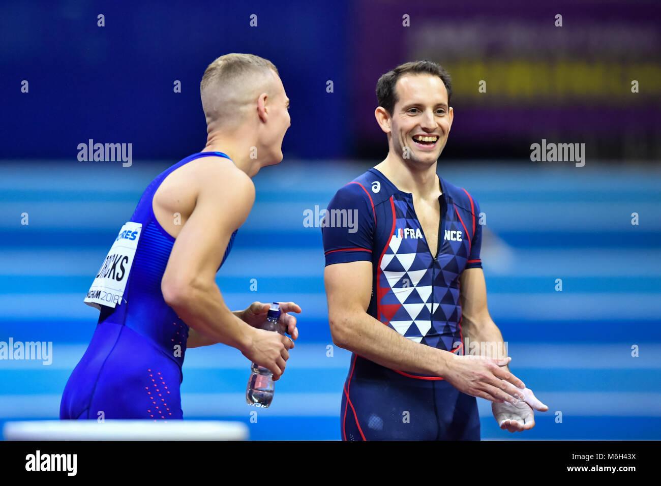 Birmingham, UK. 4th Mar, 2018. Axel Chapelle (FRA) Sam Kendricks (USA) in Men's Pole Vault Final during IAAF - Stock Image