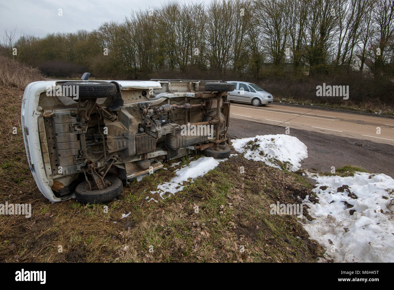 Ad van turned over on the A47 at wendling March 2018 Credit: Jason Marsh/Alamy Live News - Stock Image