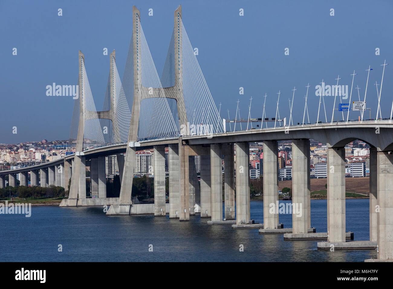 Unusual view to the main part of Vasco da Gama Bridge in Lisbon, Portugal - Stock Image