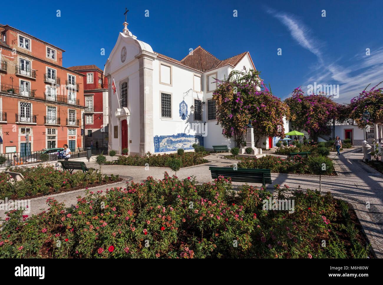 Church of Santa Luzia in Alfama district of Lisbon, Portugal Stock Photo