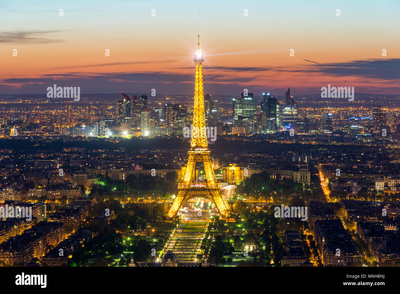 PARIS, FRANCE - May 5, 2016: Beautiful Paris skyline view Eiffel tower during light show at dusk, Paris, France Stock Photo