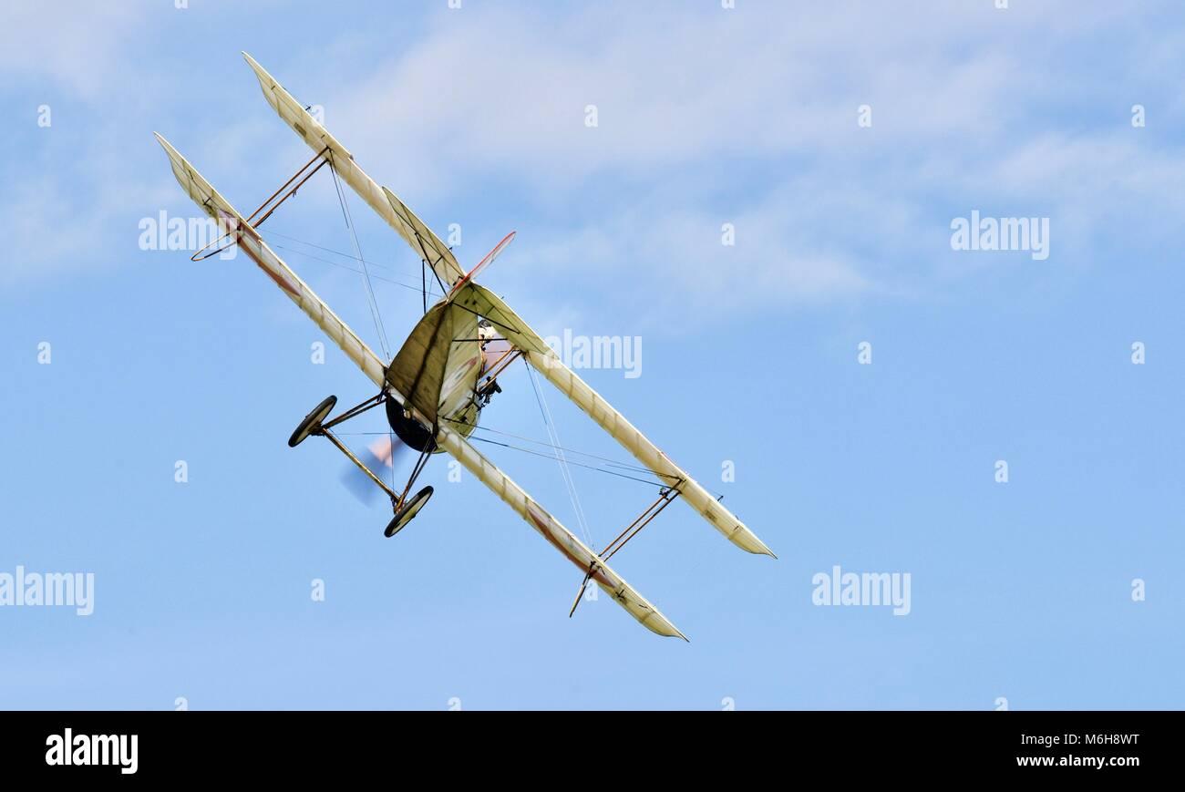Bristol Scout Type C No. 1264  flying at Shuttleworth Aerodrome - Stock Image