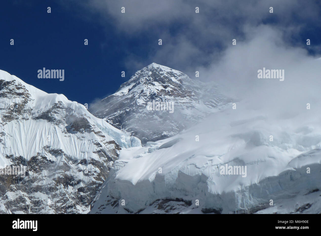 View of Mount Everest summit (8848 meters), seen from the Everest Base Camp trek, Nepal Stock Photo